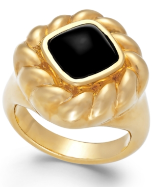 Signature Gold Onyx Rope Ring in 14k Gold (2 ct. t.w.)