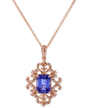 Tanzanite and diamond antique pendant necklace in 14k rose gold