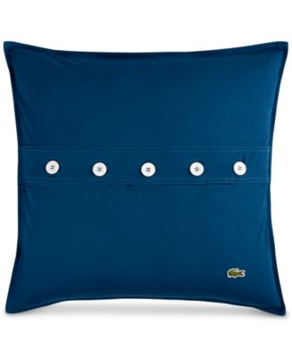 "Lacoste Home Solid Poseidon Brushed Twill 18"" Square Decorative Pillow"