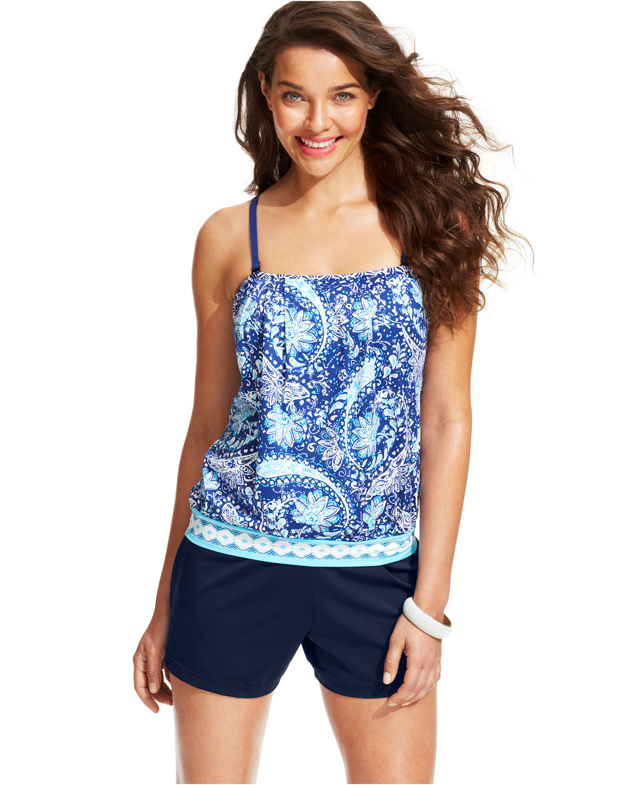 blouson tankini with shorts images. Black Bedroom Furniture Sets. Home Design Ideas