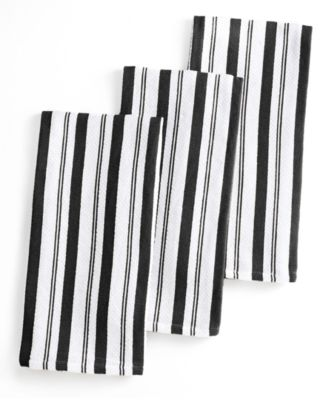 Martha Stewart Collection Set of 3 Basketweave Black Striped Kitchen Towels