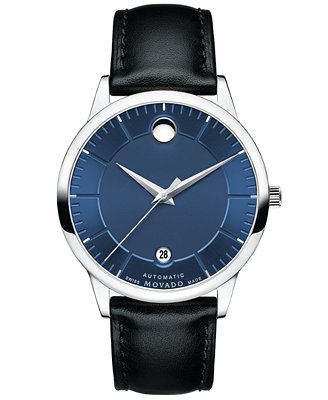 movado s swiss 1881 automatic black leather