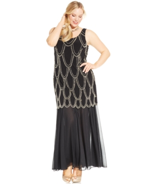 Betsy  Adam Plus Size Beaded Drop-Waist Dress $89.99 AT vintagedancer.com