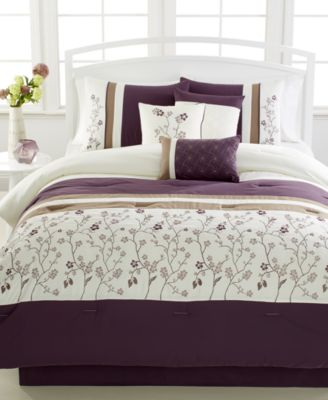 Bella Donna Plum 7-Pc. Queen Embroidered Comforter Set