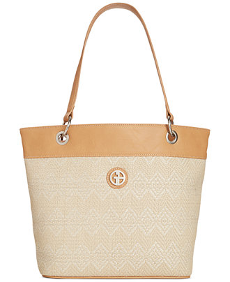 Giani Bernini Patterned Straw Tote