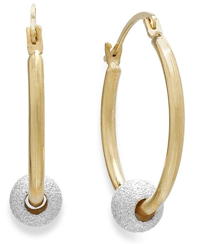 Macy's - Beaded Hoop Earrings in 10k Gold and Sterling Silver