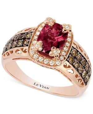 Le Vian Raspberry Rhodolite Garnet (1-3/4 ct. t.w.) and Diamond (3/8 ct. t.w.) Ring in 14k Rose Gold