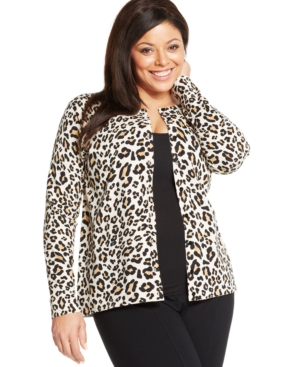 August Silk Plus Size Leopard-Print Silk-Blend Cardigan