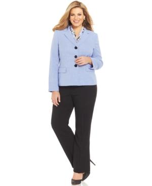 Le Suit Plus Size Three-Button Printed-Scarf Pantsuit