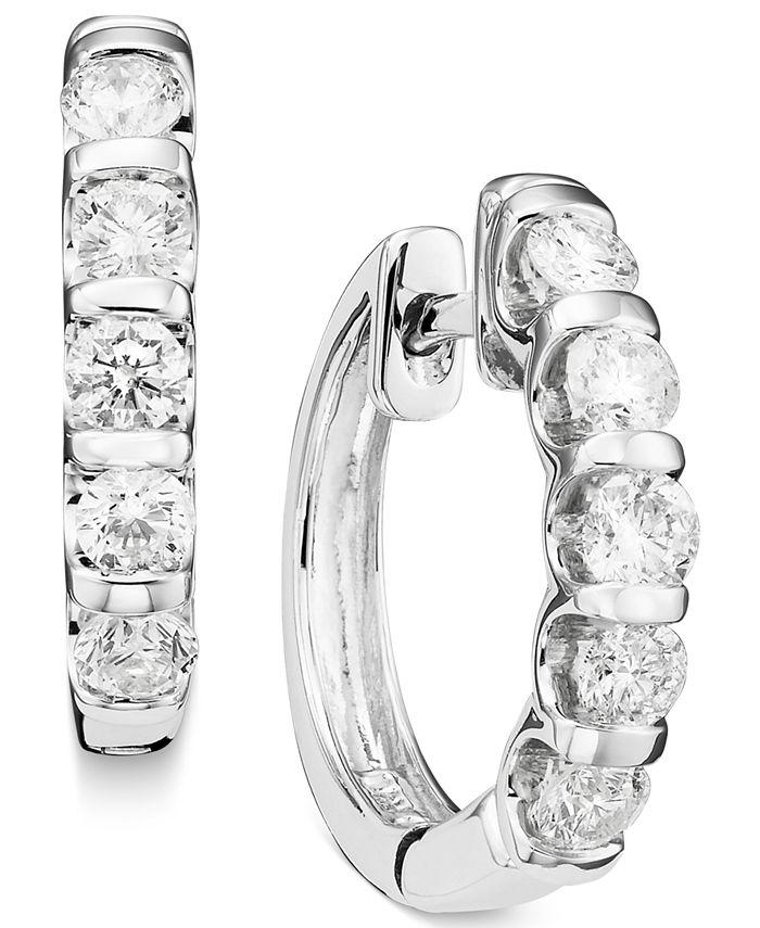 Macy's - Channel-Set Diamond Hoop Earrings in 14k White Gold (1 ct. t.w.)