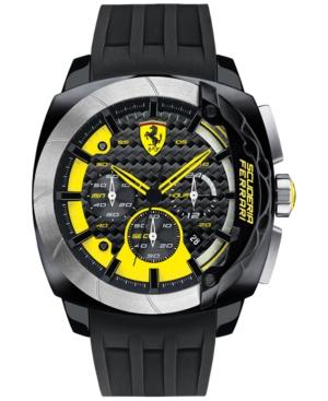Scuderia Ferrari Men's Chronograph Aerodinamico Black Silicone Strap Watch 46mm 830206