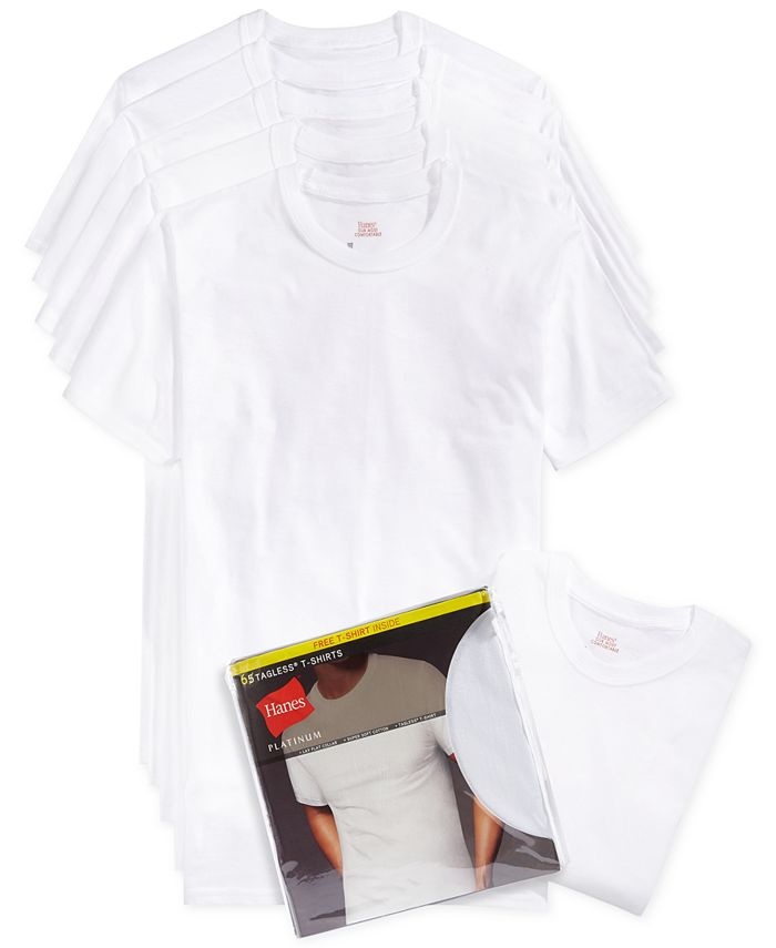 Hanes - Men's Crew-Neck T-Shirts 5-Pack + 1 Extra T-Shirt