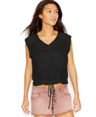 Free People OB396004 Pennies Storyteller Sheer Boxy Sleeveless Blouse Blk $98 L