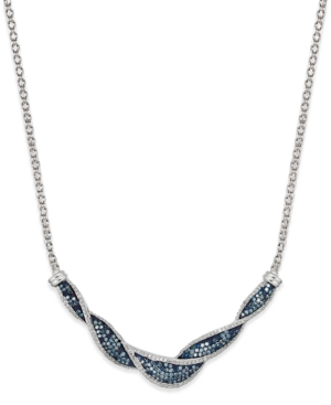 Wrapped in Love White and Blue Diamond Twist Necklace in Sterling Silver (1 ct. t.w.)