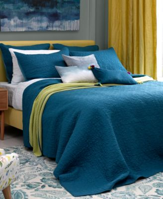 bluebellgray Fern Solid Saxony Blue Full/Queen Coverlet