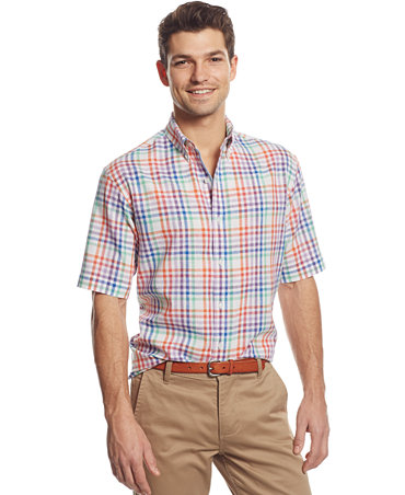 Club Room Big And Tall Linen Blend Check Short Sleeve