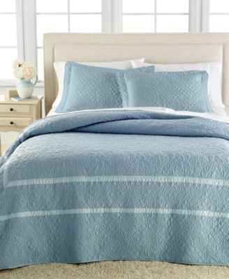 Martha Stewart Collection Flowering Trellis King Bedspread (Slate Blue)