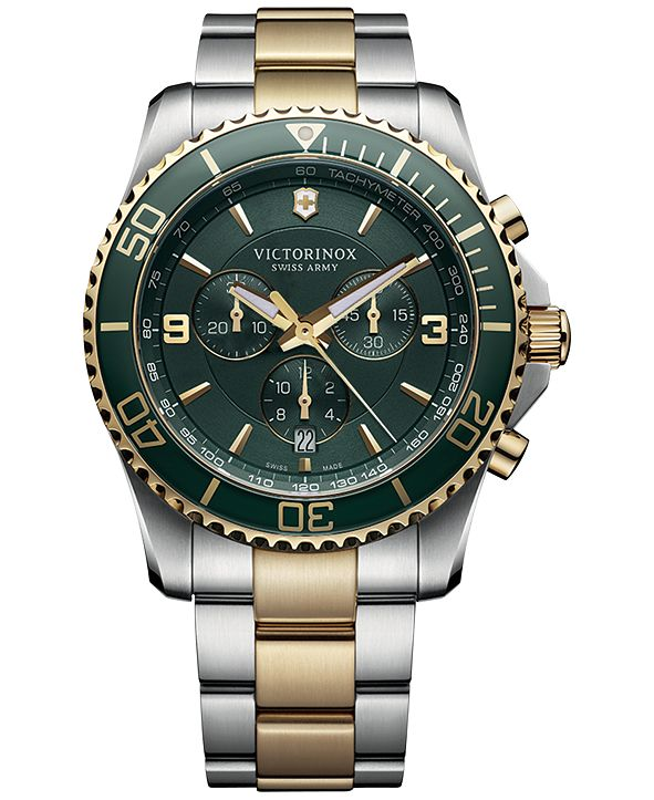Victorinox Swiss Army Men's Chronograph Maverick Two-Tone Stainless Steel Bracelet Watch 43mm 241693