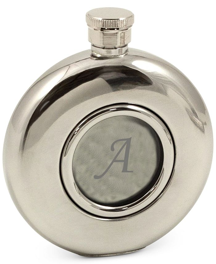 Bey-Berk - Monogramed 5 oz. Stainless Steel Mirror Finish Flask with Glass Center