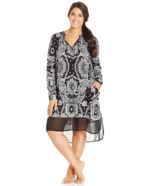 DKNY Plus Size Bandana Print Long Sleeve Sleepshirt