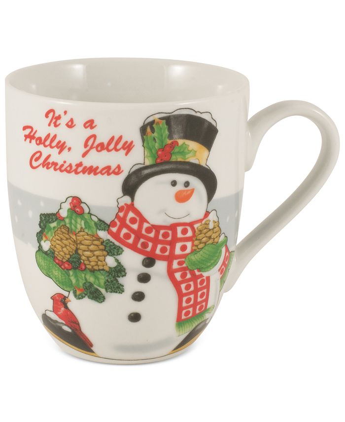 Fitz and Floyd - Set of Two Holiday Mugs Collection Holly Berry Snowman Set