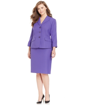 Le Suit Plus Size Three-Button Solid Skirt Suit