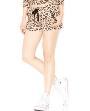 Guess Embellished Animal-Print Drawstring Shorts