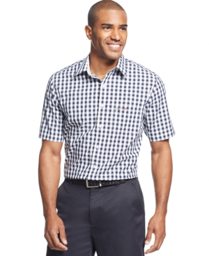 Greg Norman for Tasso Elba Exploded Gingham Golf Shirt $39.99 AT vintagedancer.com