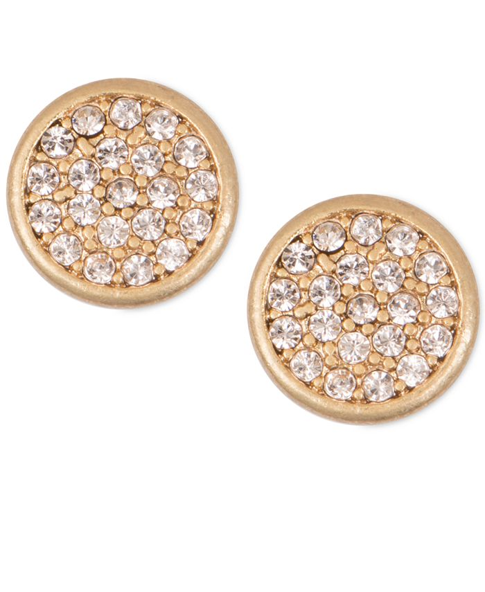 lonna & lilly - Mixed Metal Pavé Disc Stud Earrings