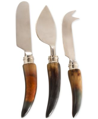 Thirstystone Stainless Steel & Horn 3 Piece Cheese Set