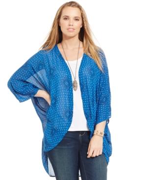 Lucky Brand Plus Size Geo-Print Kimono Cardigan