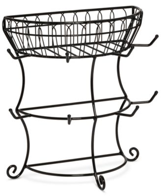 Gourmet Basics By Mikasa Flatback Mug Tree With Wire Basket
