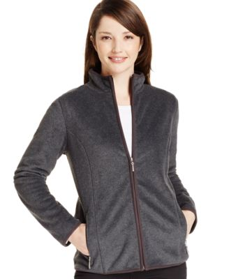 Image of Karen Scott Zip-Front Fleece Active Jacket, Only at Macy's