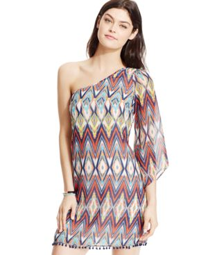 Sequin Hearts Juniors' Printed Crochet-Trim One-Shoulder Shift Dress