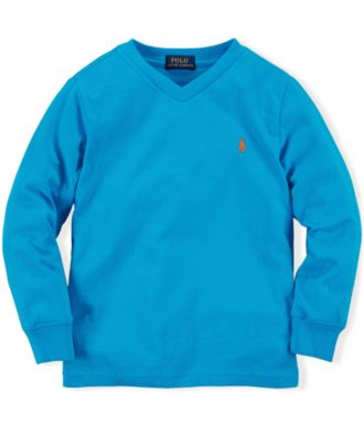 Ralph Lauren Little Boys' Long Sleeve V-Neck Jersey Tee