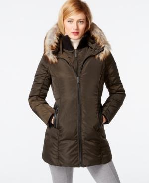 c880b3b01a43d UPC 767336748388 product image for Michael Michael Kors Faux-Fur-Trim Down  Coat