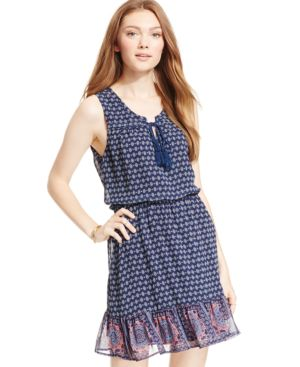 As U Wish Juniors' Printed Button-Pocket Peasant Dress