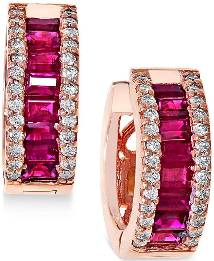EFFY Collection - Ruby (1-1/2 ct. t.w.) and Diamond (3/8 ct. t.w.) Earrings in 14k Rose Gold