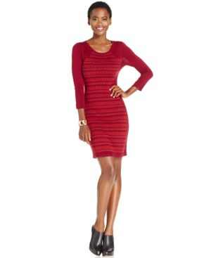 Spense Petite Printed Sweater Dress