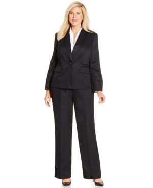 Le Suit Plus Size One-Button Pantsuit