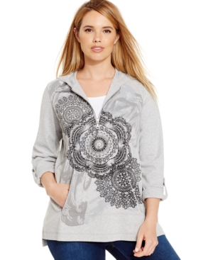 Style & Co. Sport Plus Size Mandala-Print Hoodie, Only at Macy's