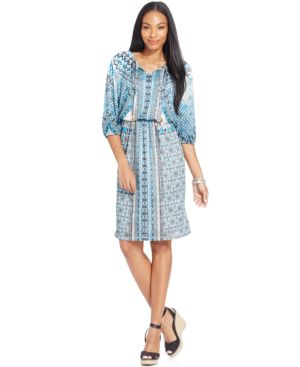 Style & Co. Petite Printed Blouson Dress, Only at Macy's