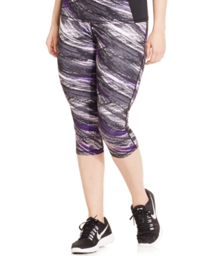 Ideology Plus Size Printed Cropped Active Leggings