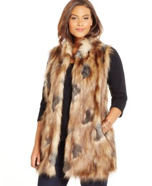 Inc International Concepts Plus Size Faux-Fur Sweater-Back Long Vest, Only at Macy's