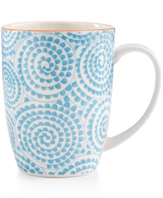 Certified International Chelsea Collection Porcelain Aqua Swirl Mug