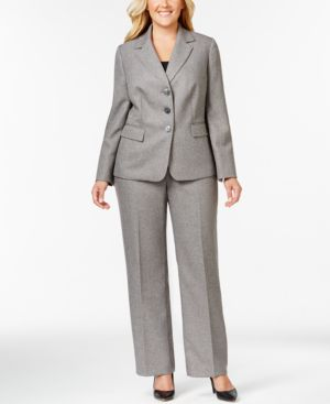 Le Suit Plus Size Three-Button Tweed Pantsuit