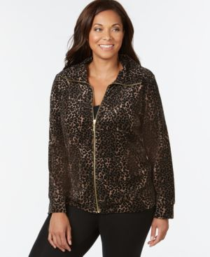 Style & Co. Sport Plus Size Animal-Print Velour Active Jacket, Only at Macy's