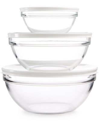Martha Stewart Collection 3-Pc. Set of Glass Bowls with Lids, Only at Macy's