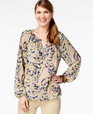 American Living Printed Paisley Peasant Blouse, Only at Macy's