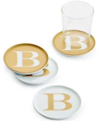 "The Cellar Gold Initial Coasters Collection Porcelain Set of 4 Initial ""B"" Coasters, Only at Macy's"